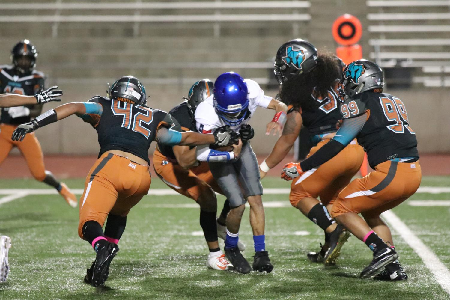 The Spartans defensive collect a sack Thursday night Oct. 25 at the SAC. Pebble Hills is now 2-1 in district.