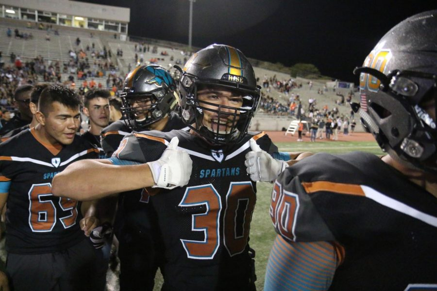 Brandon+Davila+with+his+thumbs+up+as+he+celebrates+with+his+team+after+their+54-12+win+over+El+Dorado+Aug.+30+at+the+SISD+SAC.+