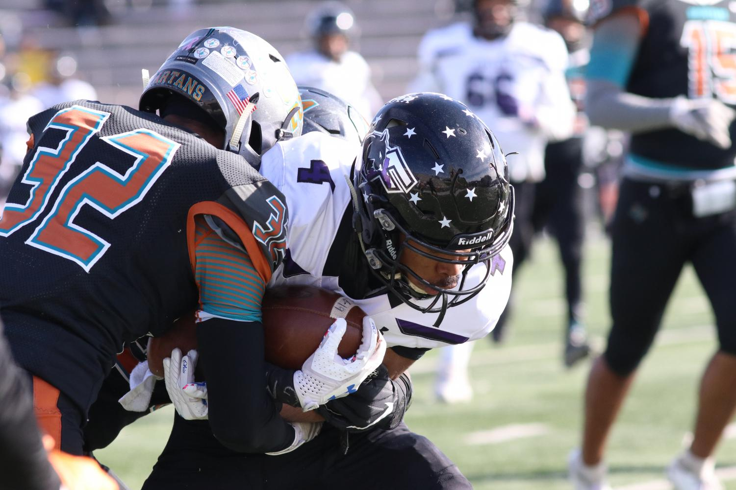 Senior Chaz Clemons tackles Franklin receiver in the first half Saturday morning, Nov 2 at the SISD Student Activities Center.